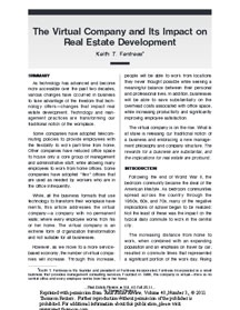 The Virtual Company and Its Impact on Real Estate Development